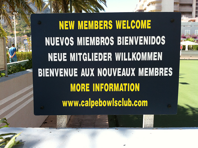 Calpe Bowls Club new sign