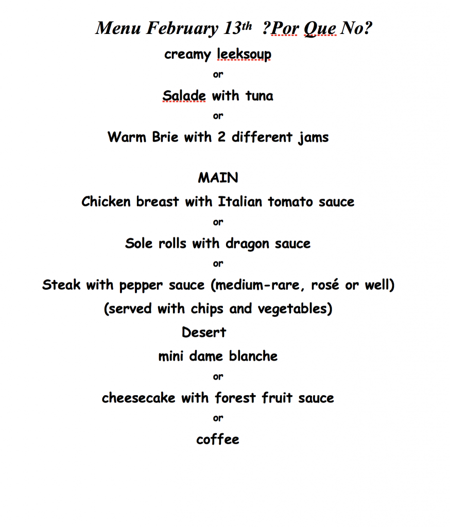 valentine's lunch menu